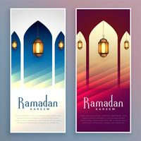 ramadan kareem beautiful greeting banner set