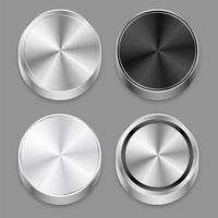 realista circular 3d cepillado conjunto de iconos de metal