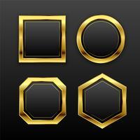 conjunto de rótulos de distintivo vazio geométricos dourados escuros