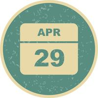 April 29th Date on a Single Day Calendar