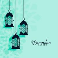 hanging islamic lamps decoration ramadan kareem background
