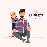 Happy father's day. daughter hug her dad