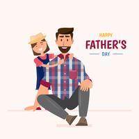 Buona festa del papà. la figlia abbraccia suo padre