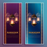 colgar lámparas islámicas ramadan kareem banner diseño