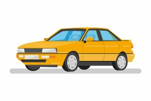 flat design yellow car on white background.