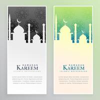 ramadan kareem mosque banners set