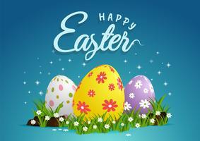 Joyeuses Pâques avec des oeufs, de l'herbe, des fleurs
