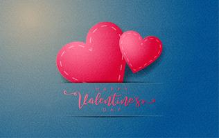 Happy valentine's day invitation card, Paper cut with red hearts over paper craft background