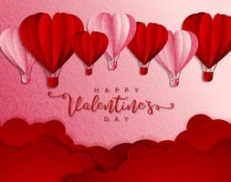 Happy valentines day typography vector design with paper cut red heart shape hot air balloons flying