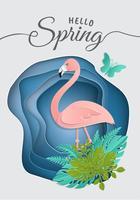 Trozo de papel, origami, flamenco rosado en hojas tropicales. Plantilla tropical de moda de verano con luciérnagas centelleantes y exótico follaje de palmeras en un círculo. Concepto de la vida silvestre Fondo floral del vector