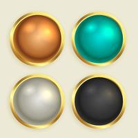 conjunto de botones brillantes de oro premium