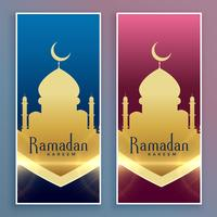 golden ramadan kareem islamic banner set