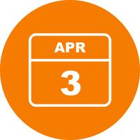 April 3rd Date on a Single Day Calendar