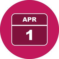 1 april Datum op een eendaagse kalender