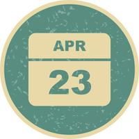 April 23rd Date on a Single Day Calendar