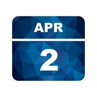April 2nd Date on a Single Day Calendar