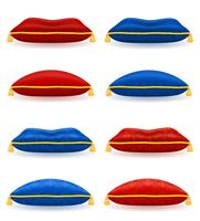Almohada azul rojo con cuerda de oro y borlas ilustración vectorial