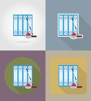 playground for curling sport game flat icons vector illustration