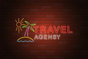 glowing neon signboard travel agency vector illustration