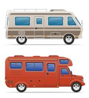 car van caravan camper mobile home with beach accessories vector illustration