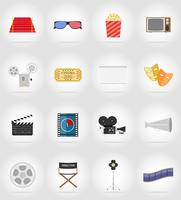 Iconos planos de cine iconos planos vector ilustración