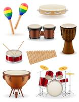 instruments de musique de percussion mis icônes illustration vectorielle stock