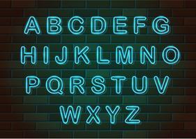 Letras de neón brillante ilustración de vector de alfabeto inglés