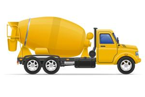 cargo truck concrete mixer vector illustration