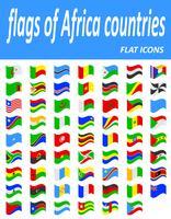 Banderas de los países de África iconos planos vector illustration