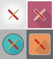 pencil and ruler equipment flat icons vector illustration