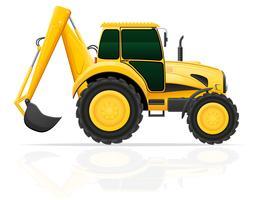 tractor con un cubo detrás de la ilustración vectorial