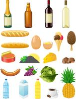 set icons of foods vector