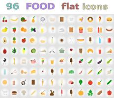 iconos planos de alimentos vector illustration