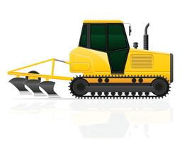 tracteur caterpillar avec illustration vectorielle de charrue