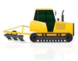 Tractor de oruga con arado ilustración vectorial