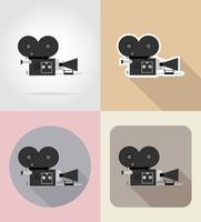 old retro vintage movie video camera flat icons vector illustration