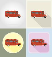 car van caravan camper mobile home flat icons vector illustration