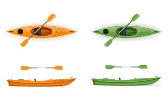 plast kajak för fiske och turism vektor illustration