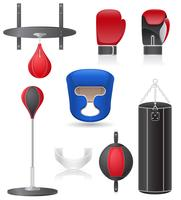 set icons of equipment for boxing vector illustration