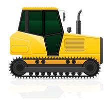 Ilustración de vector de tractor de oruga aislado sobre fondo blanco