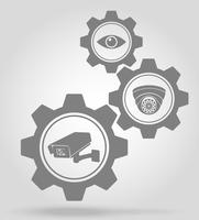 video surveillance gear mechanism concept vector illustration