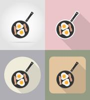 eggs with bacon in a frying pan food and objects flat icons vector illustration