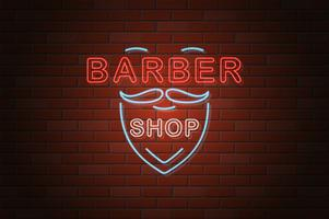 glowing neon signboard barber shop vector illustration