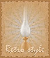 retro style poster old kerosene lamp vector illustration