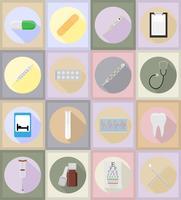 medizinische Gegenstände und flache Ikonenillustration der Ausrüstung