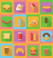 ícones planas de fast-food com a ilustração do vetor de sombra