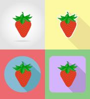strawberry fruits flat set icons with the shadow vector illustration