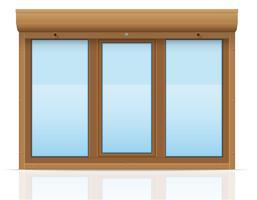 Ventana de plástico marrón con persianas enrollables ilustración vectorial