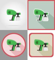 electric airbrush tools for construction and repair flat icons vector illustration