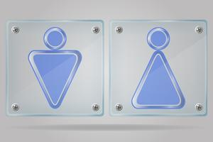 transparent sign man and women toilets on the plate vector illustration